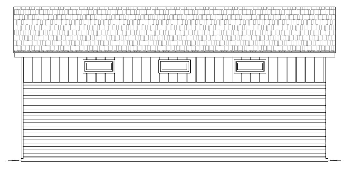 Contemporary, Modern 3 Car Garage Plan 40881, RV Storage Rear Elevation