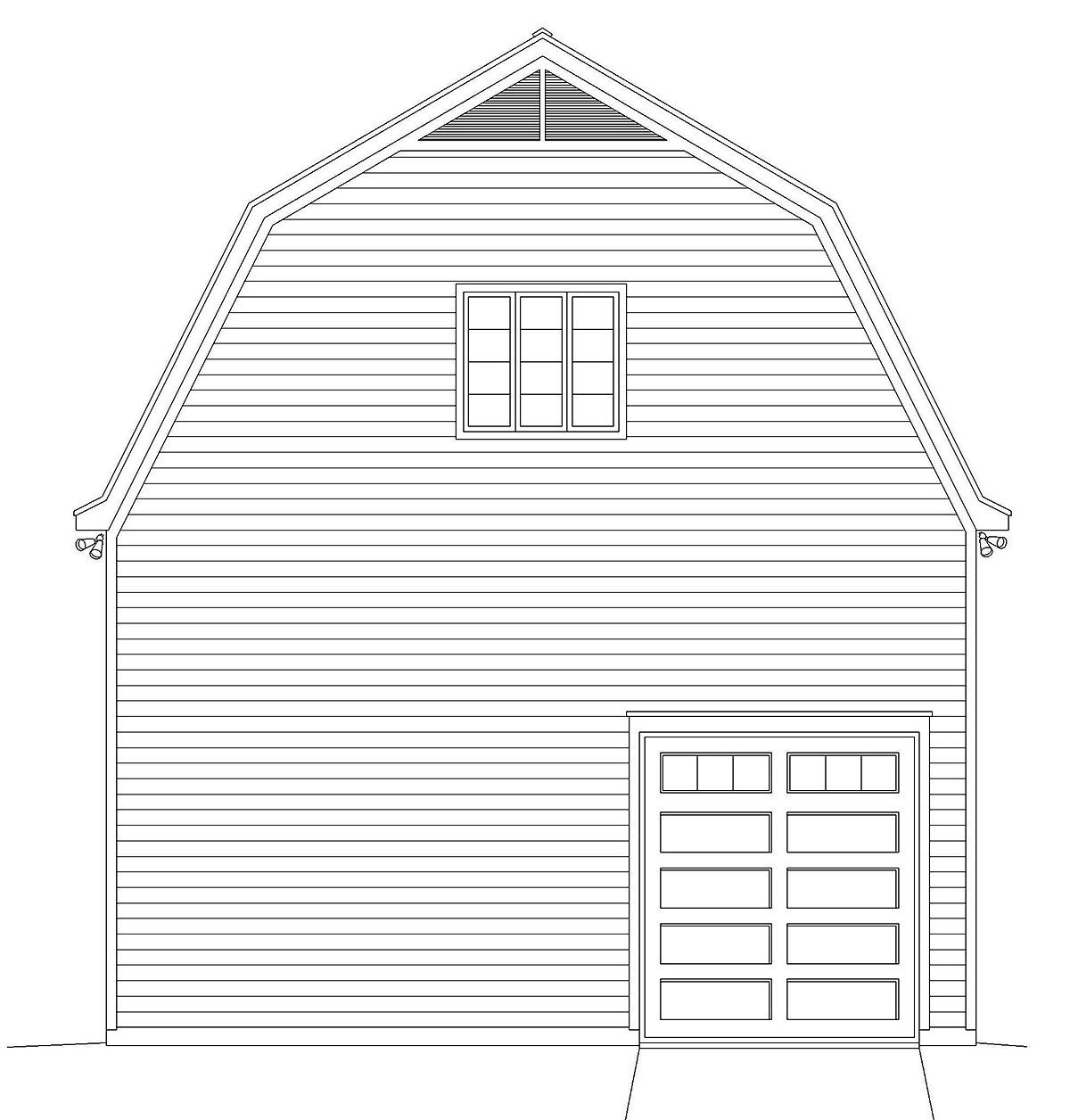 Cottage, Country 4 Car Garage Plan 40884 Rear Elevation