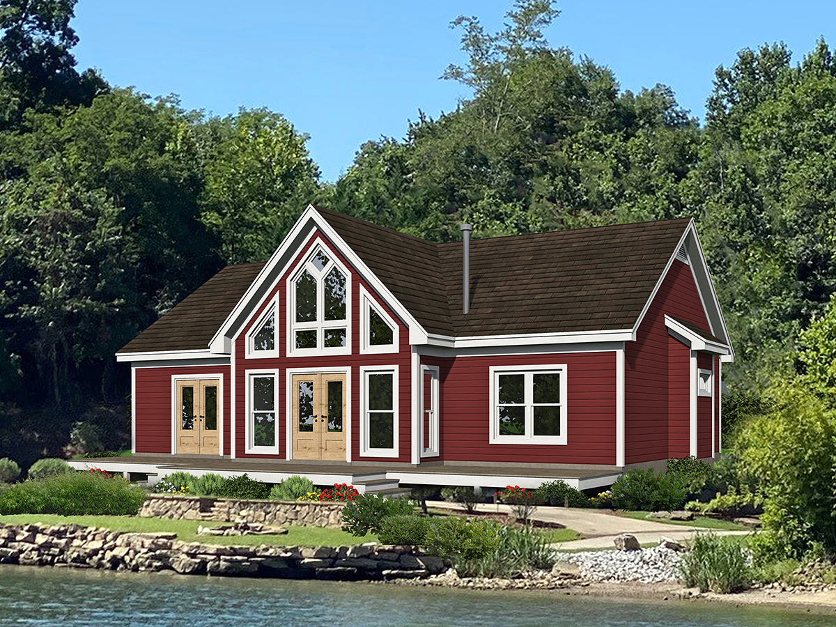 Ranch, Traditional House Plan 40891 with 3 Beds, 2 Baths Rear Elevation