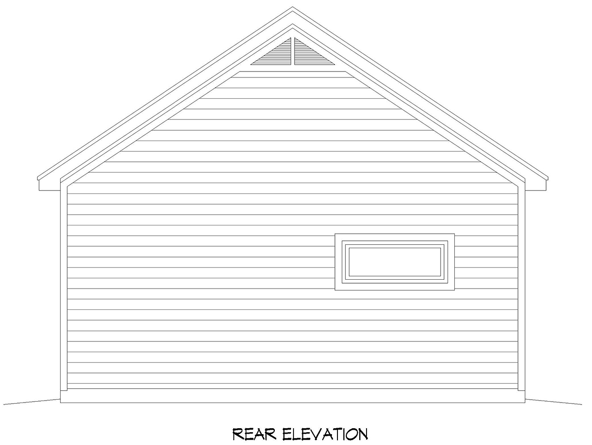 Country, Ranch, Traditional 3 Car Garage Plan 40895 Rear Elevation