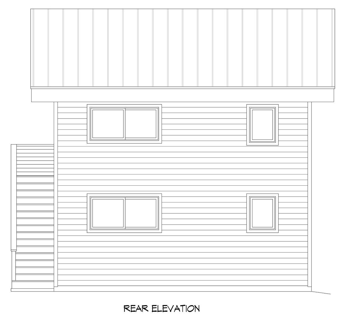 Coastal, Contemporary, Modern Garage-Living Plan 40896 with 2 Beds, 2 Baths, 2 Car Garage Rear Elevation