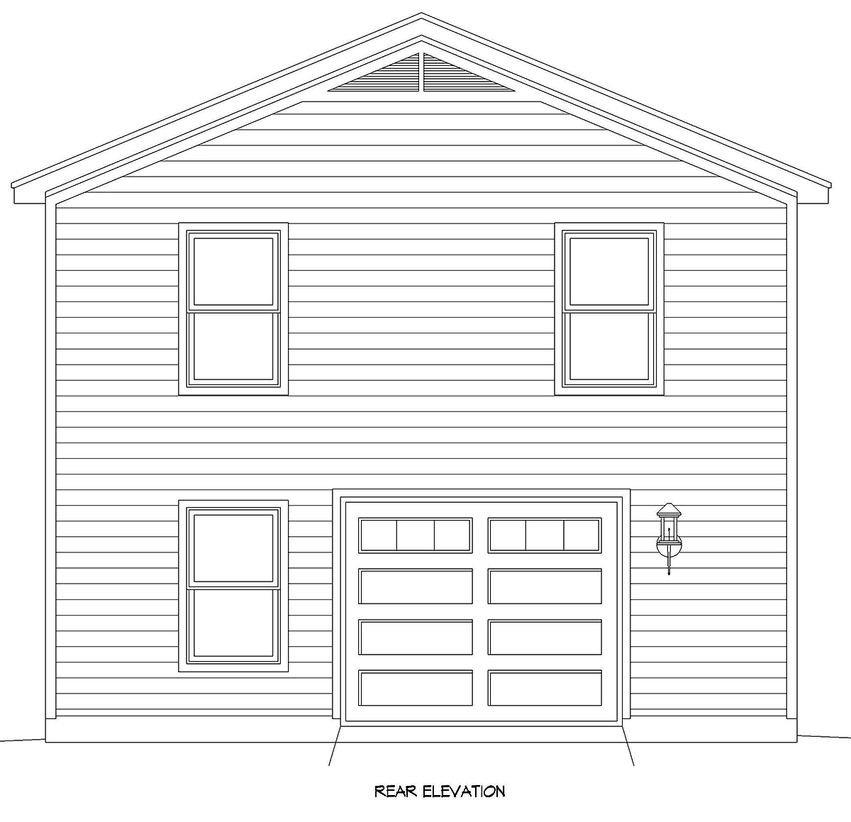 Country, Traditional 2 Car Garage Apartment Plan 40899 with 2 Beds, 1 Baths Rear Elevation