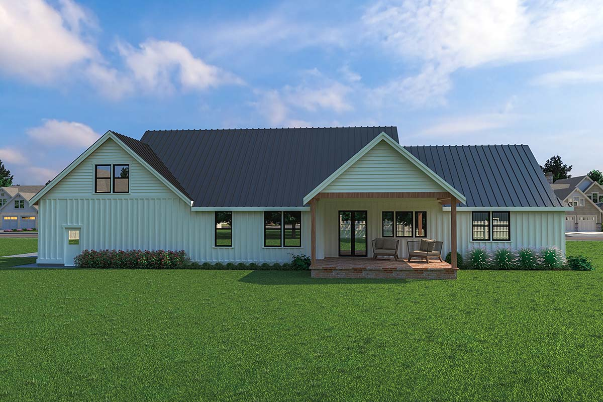Contemporary, Farmhouse House Plan 40906 with 3 Beds, 3 Baths, 2 Car Garage Rear Elevation