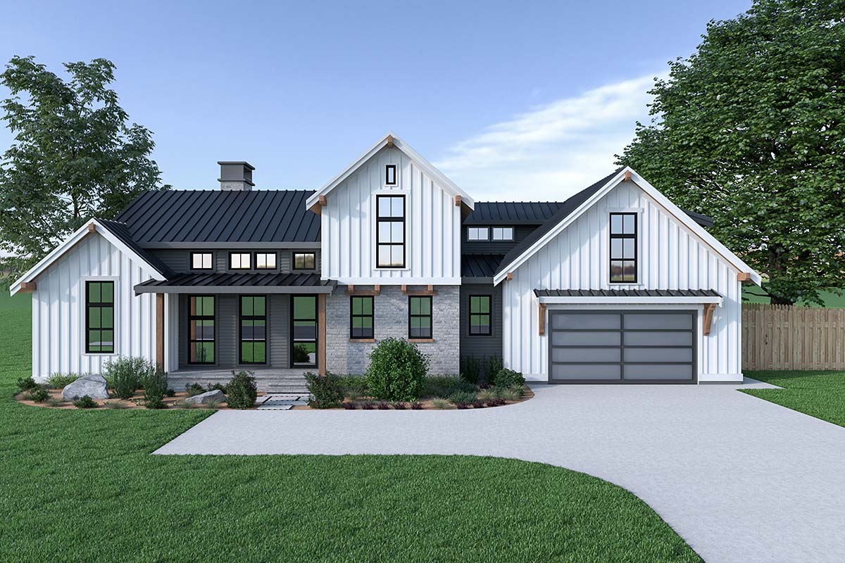 Contemporary, Country, Farmhouse House Plan 40908 with 3 Beds, 3 Baths, 2 Car Garage Front Elevation