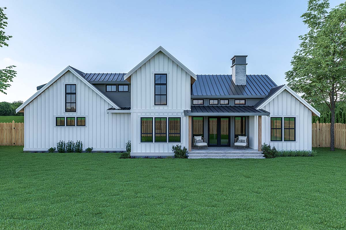 Contemporary, Country, Farmhouse House Plan 40908 with 3 Beds, 3 Baths, 2 Car Garage Rear Elevation