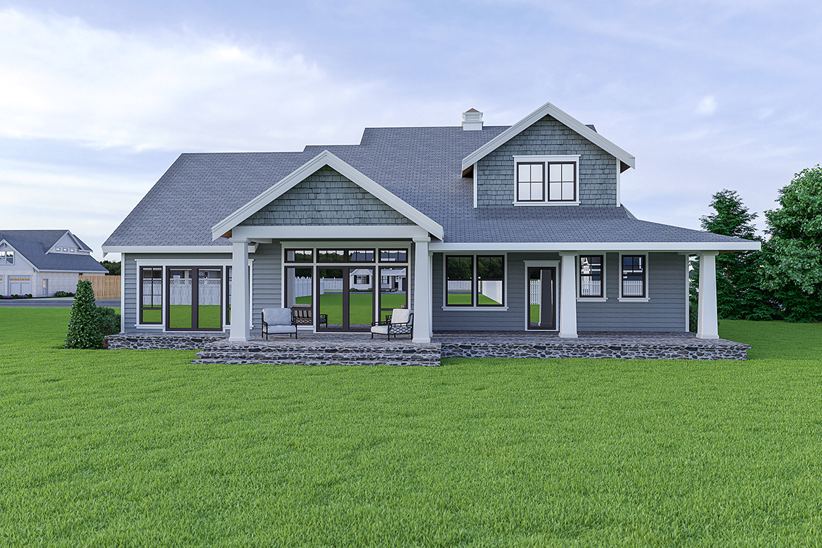 Coastal, Cottage, Craftsman House Plan 40912 with 3 Beds, 3 Baths, 2 Car Garage Rear Elevation