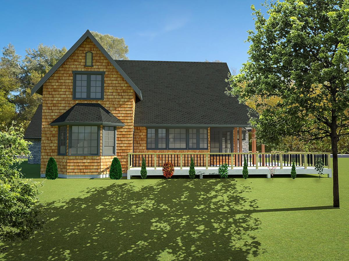 Cottage, Tudor, Victorian House Plan 40913 with 2 Beds, 3 Baths, 2 Car Garage Rear Elevation
