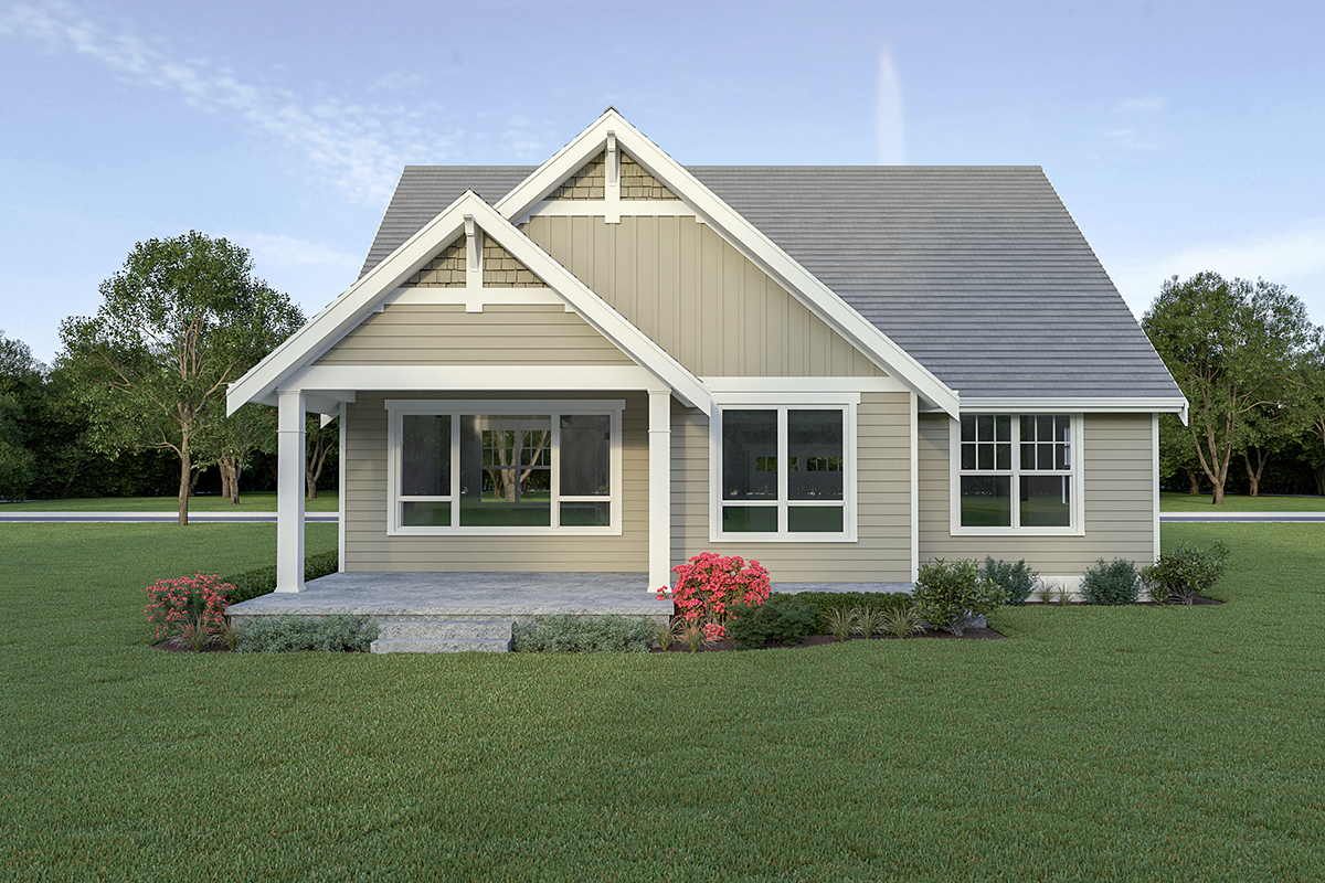 Country, Craftsman House Plan 40914 with 3 Beds, 3 Baths, 2 Car Garage Rear Elevation