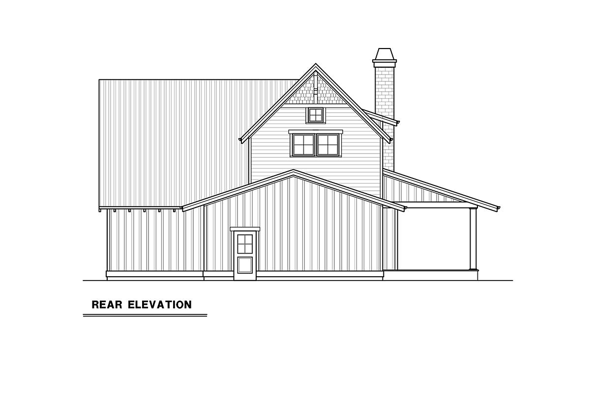 Craftsman House Plan 40916 with 3 Beds, 3 Baths, 2 Car Garage Rear Elevation