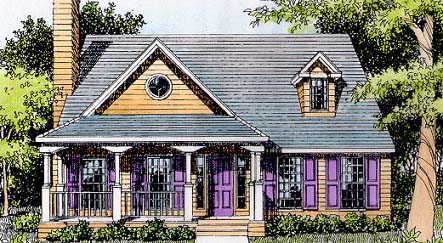 Country, Southern House Plan 41000 with 3 Beds, 3 Baths Elevation