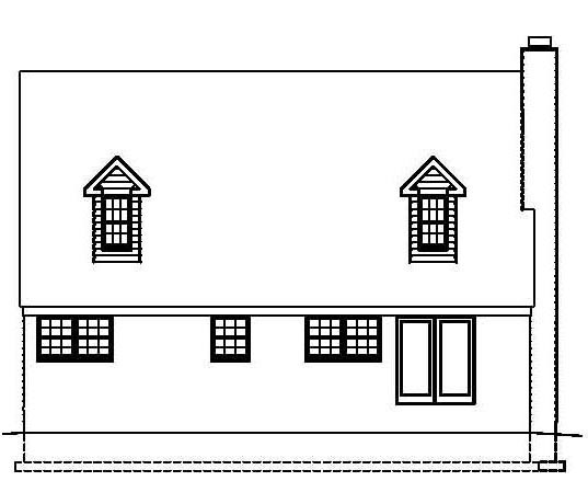 Country, Southern House Plan 41000 with 3 Beds, 3 Baths Rear Elevation