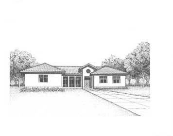 Florida, Mediterranean, Ranch House Plan 41016 with 2 Beds, 2 Baths, 2 Car Garage Elevation