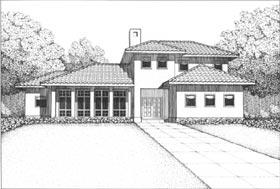 Contemporary, Florida, Mediterranean House Plan 41017 with 4 Beds, 3 Baths, 2 Car Garage Elevation