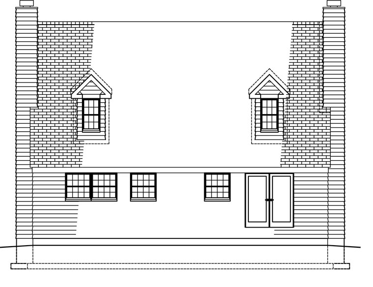Country House Plan 41021 with 3 Beds, 3 Baths Rear Elevation