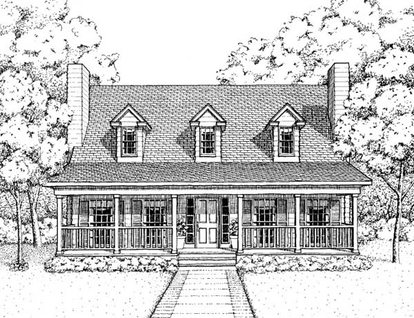 Country House Plan 41022 with 3 Beds, 3 Baths Front Elevation
