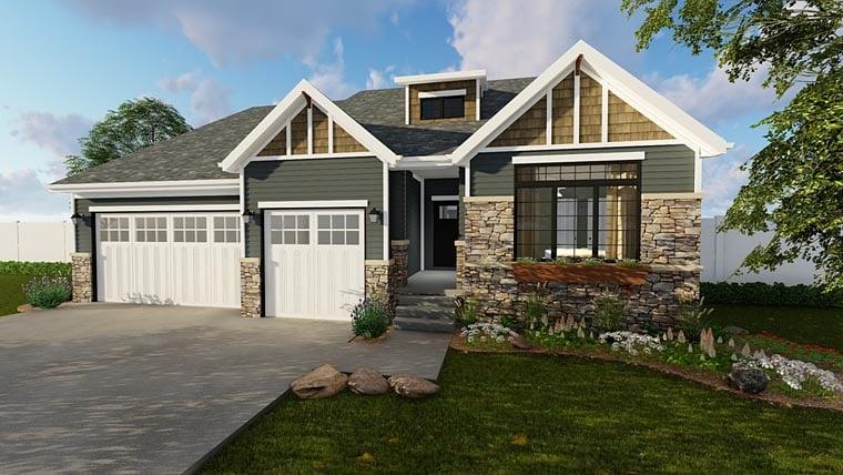 Craftsman House Plan 41101 with 3 Beds, 2 Baths, 3 Car Garage Front Elevation