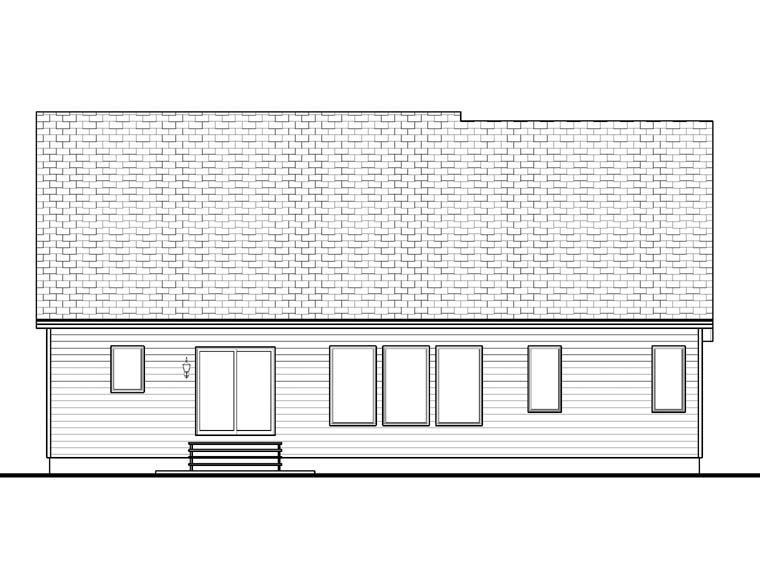 Craftsman House Plan 41101 with 3 Beds, 2 Baths, 3 Car Garage Rear Elevation