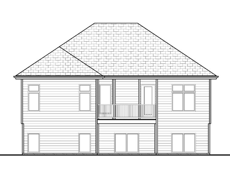 Traditional House Plan 41102 with 2 Beds, 2 Baths, 2 Car Garage Rear Elevation