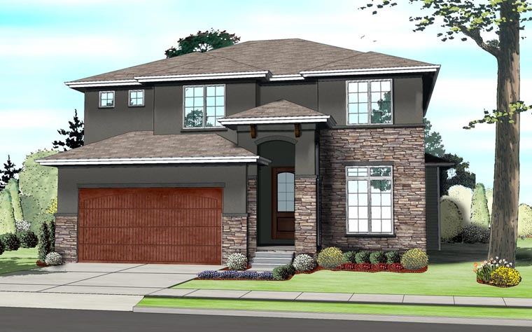 Contemporary, Prairie, Southwest House Plan 41109 with 4 Beds, 4 Baths, 2 Car Garage Elevation