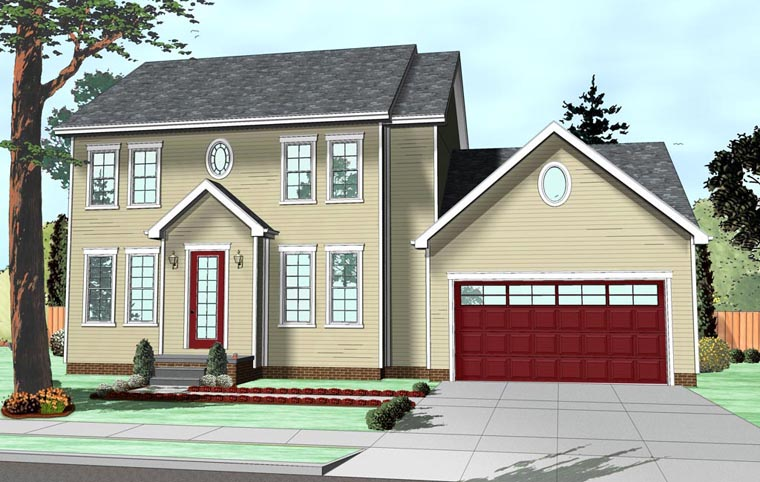 Colonial, Traditional House Plan 41111 with 3 Beds, 3 Baths, 2 Car Garage Front Elevation