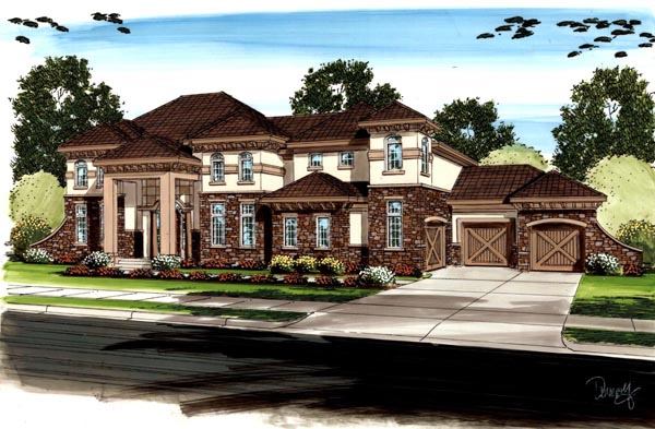 Country, Mediterranean, Traditional House Plan 41121 with 5 Beds, 5 Baths, 3 Car Garage Front Elevation