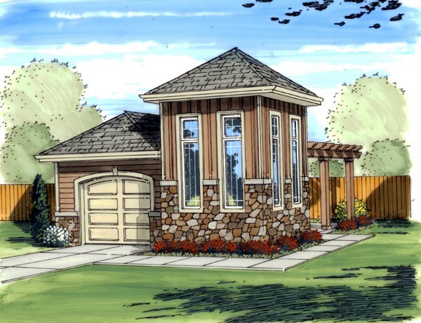 Mediterranean, Traditional 1 Car Garage Plan 41125 Elevation