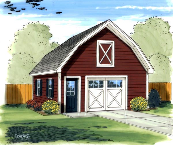 Farmhouse, Traditional 1 Car Garage Plan 41136 Front Elevation