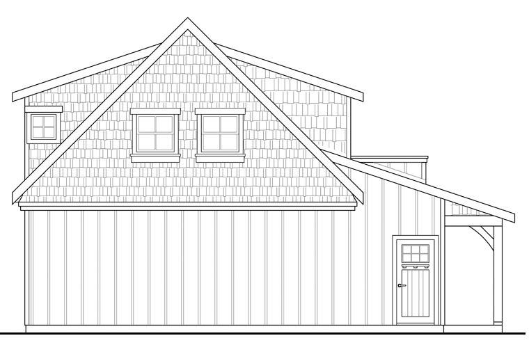 Craftsman, European 2 Car Garage Apartment Plan 41153 with 1 Beds, 1 Baths Rear Elevation