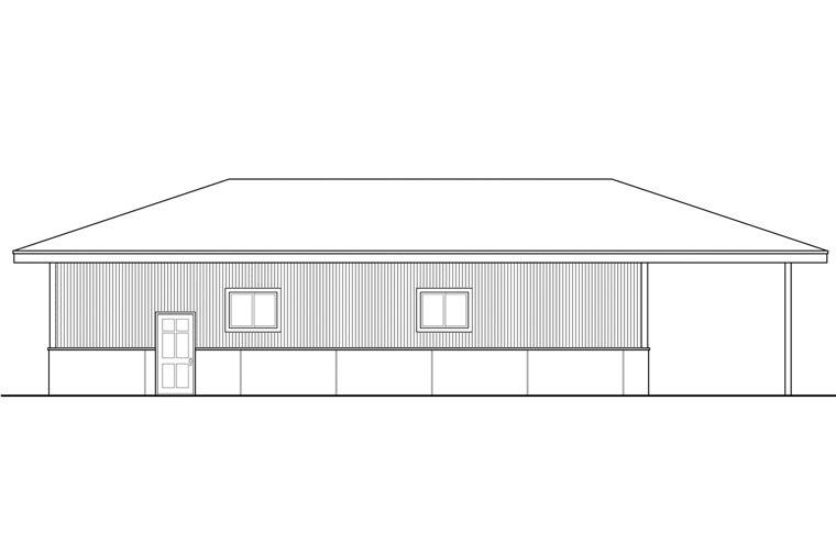 Traditional 4 Car Garage Plan 41161 Rear Elevation