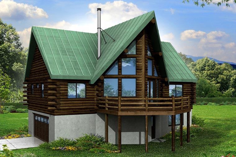 A-Frame, Cottage House Plan 41165 with 2 Beds, 3 Baths, 2 Car Garage Elevation