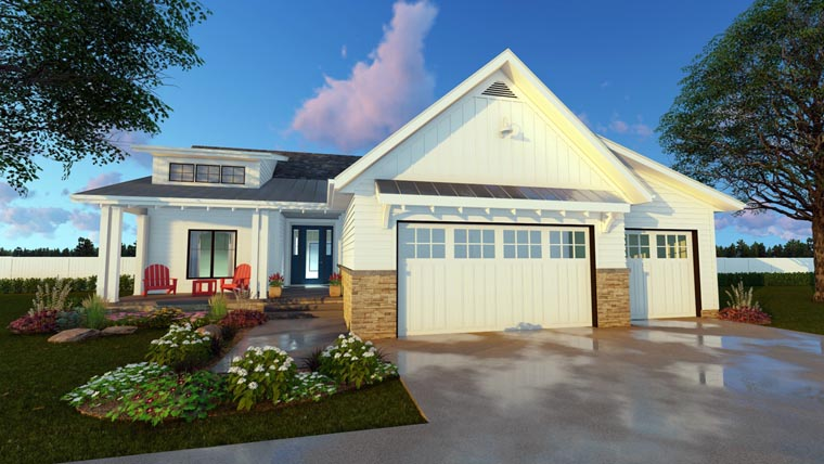 Cottage, Country, Craftsman, Traditional House Plan 41174 with 3 Beds, 2 Baths, 3 Car Garage Elevation