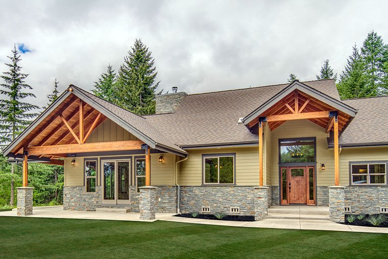 Bungalow, Country, Craftsman, Ranch House Plan 41200 with 3 Beds, 4 Baths, 2 Car Garage Picture 1