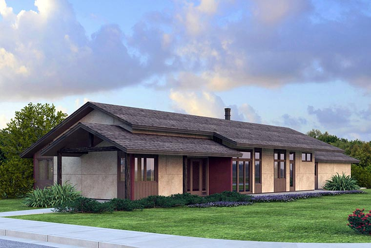 Contemporary, Ranch House Plan 41203 with 3 Beds, 3 Baths, 2 Car Garage Elevation