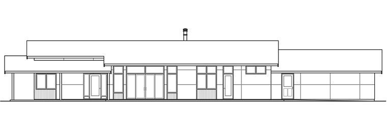 Contemporary, Ranch House Plan 41203 with 3 Beds, 3 Baths, 2 Car Garage Rear Elevation