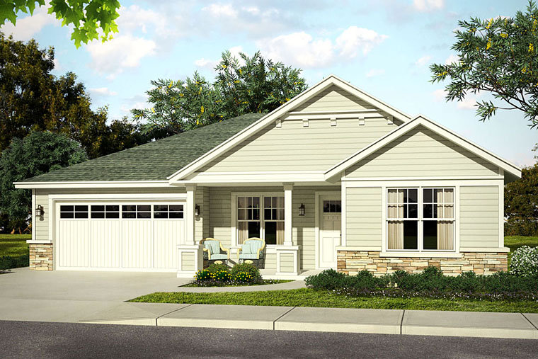 Bungalow, Cottage, Country, Ranch, Traditional House Plan 41214 with 3 Beds, 3 Baths, 2 Car Garage Front Elevation