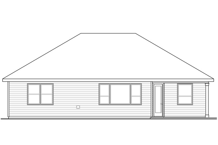 Bungalow, Cottage, Country, Ranch, Traditional House Plan 41214 with 3 Beds, 3 Baths, 2 Car Garage Rear Elevation