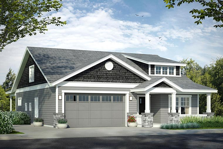 Bungalow, Cottage, Craftsman House Plan 41221 with 3 Beds, 3 Baths, 2 Car Garage Elevation