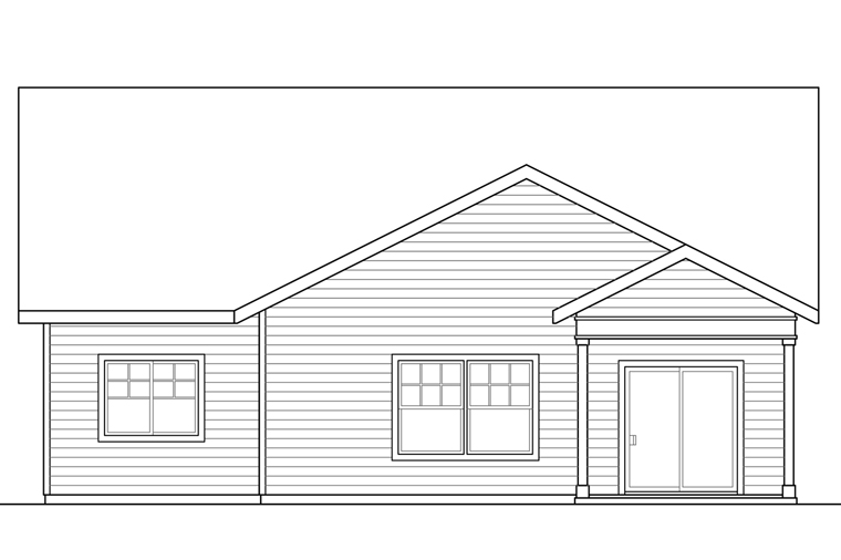 Bungalow, Cottage, Craftsman House Plan 41221 with 3 Beds, 3 Baths, 2 Car Garage Rear Elevation