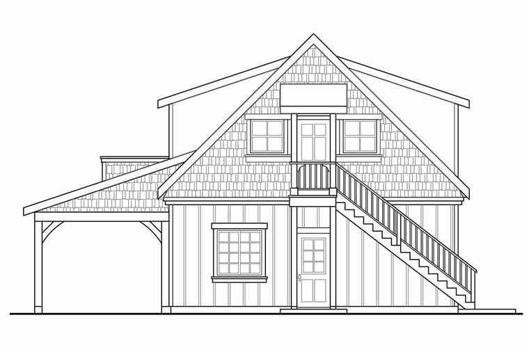Craftsman, Traditional 2 Car Garage Plan 41246 Rear Elevation