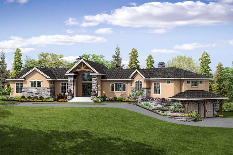 Contemporary, European, Mediterranean, Tuscan House Plan 41254 with 3 Beds, 4 Baths, 2 Car Garage Front Elevation