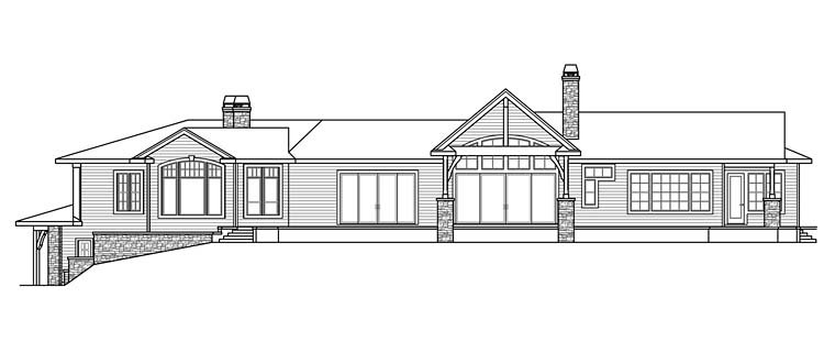 Contemporary, European, Mediterranean, Tuscan House Plan 41254 with 3 Beds, 4 Baths, 2 Car Garage Rear Elevation