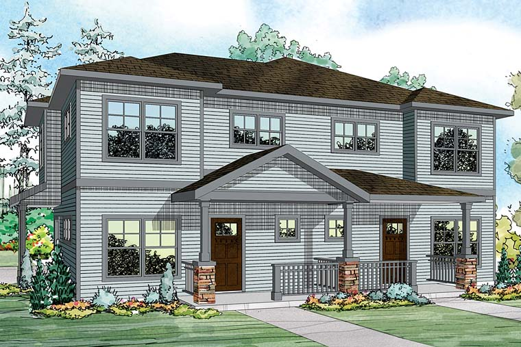 Contemporary, Country, Prairie, Ranch Multi-Family Plan 41259 with 6 Beds, 6 Baths, 2 Car Garage Elevation
