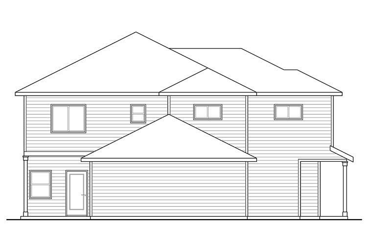Contemporary, Country, Prairie, Ranch Multi-Family Plan 41259 with 6 Beds, 6 Baths, 2 Car Garage Rear Elevation