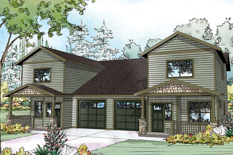 Contemporary, Country, Craftsman, Traditional Multi-Family Plan 41261 with 6 Beds, 6 Baths, 2 Car Garage Elevation