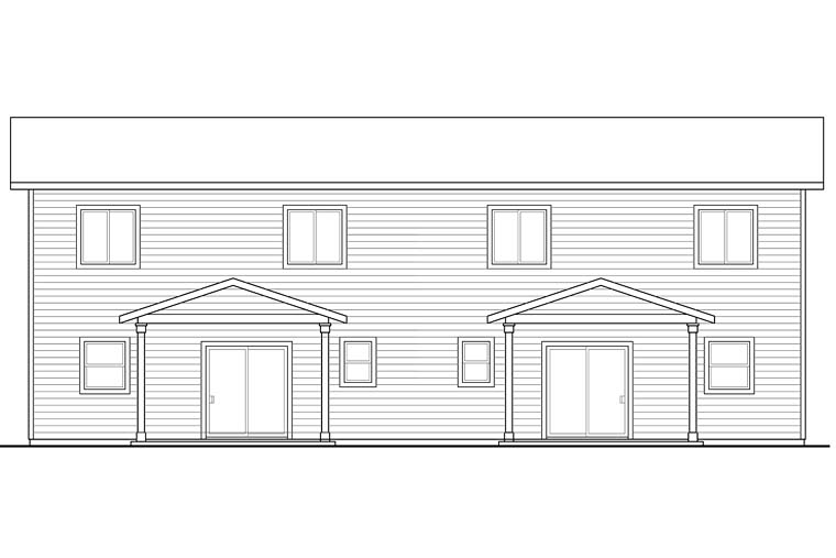 Contemporary, Country, Craftsman, Traditional Multi-Family Plan 41261 with 6 Beds, 6 Baths, 2 Car Garage Rear Elevation