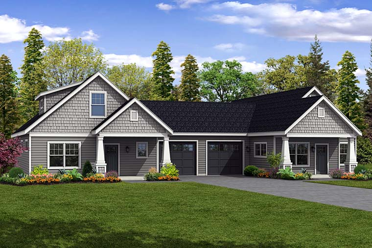 Cottage, Country, Craftsman Multi-Family Plan 41262 with 5 Beds, 4 Baths, 2 Car Garage Elevation