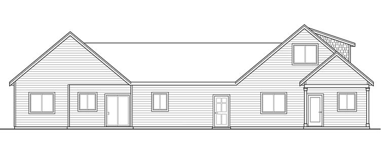Cottage, Country, Craftsman Multi-Family Plan 41262 with 5 Beds, 4 Baths, 2 Car Garage Rear Elevation