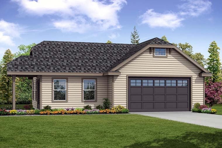 Cottage, Country 2 Car Garage Plan 41276 Front Elevation