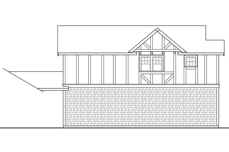 Traditional, Tudor 2 Car Garage Apartment Plan 41280 with 1 Beds, 1 Baths Picture 2