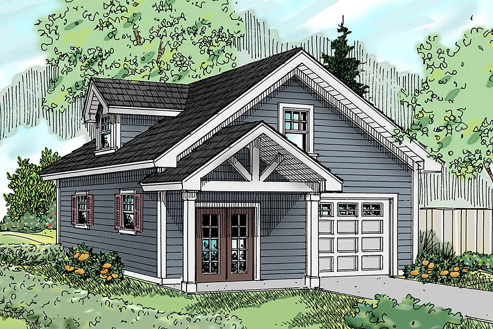 Country, Craftsman, Southern, Traditional 2 Car Garage Apartment Plan 41292 Front Elevation